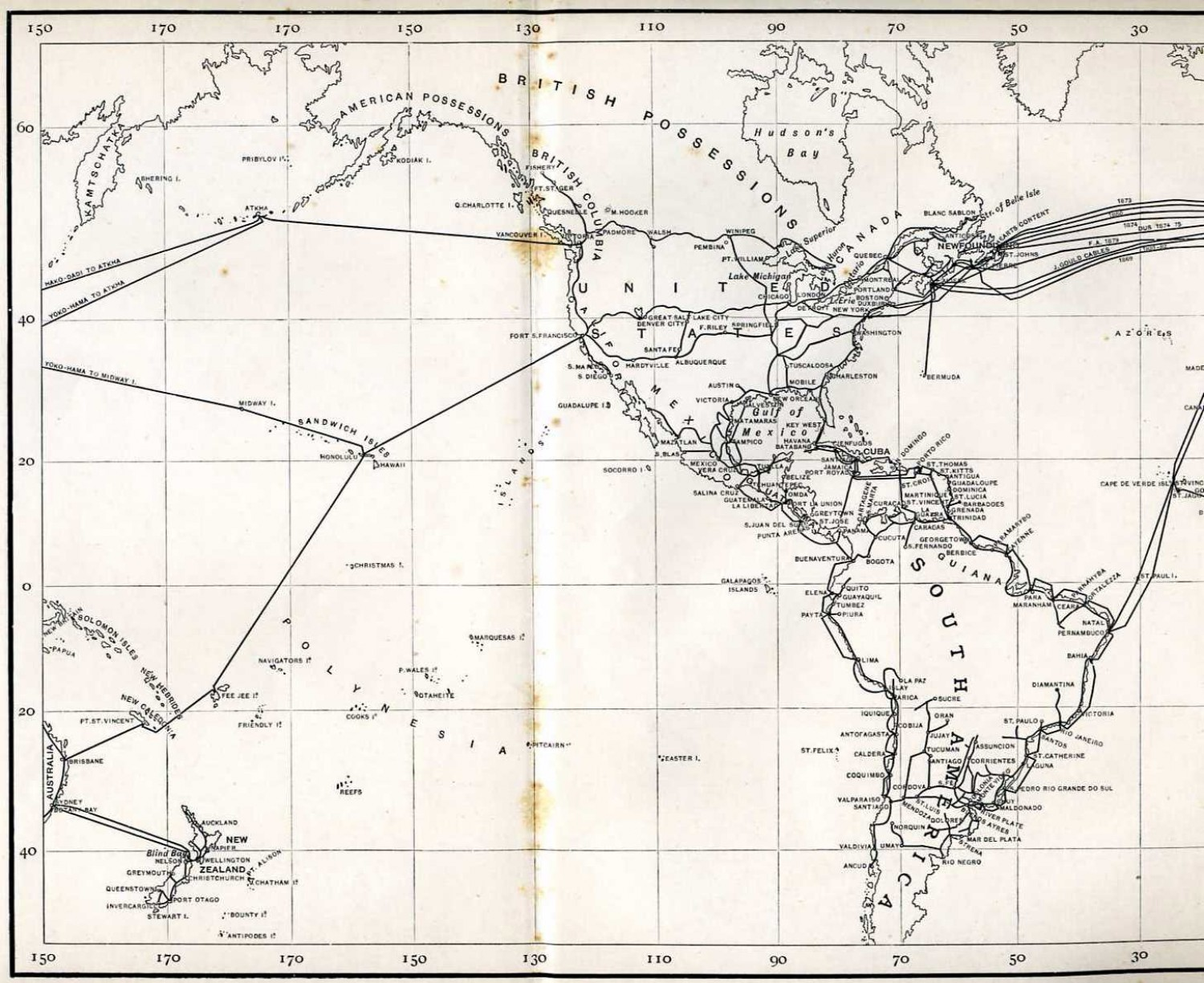 Cable routes - West, 1890