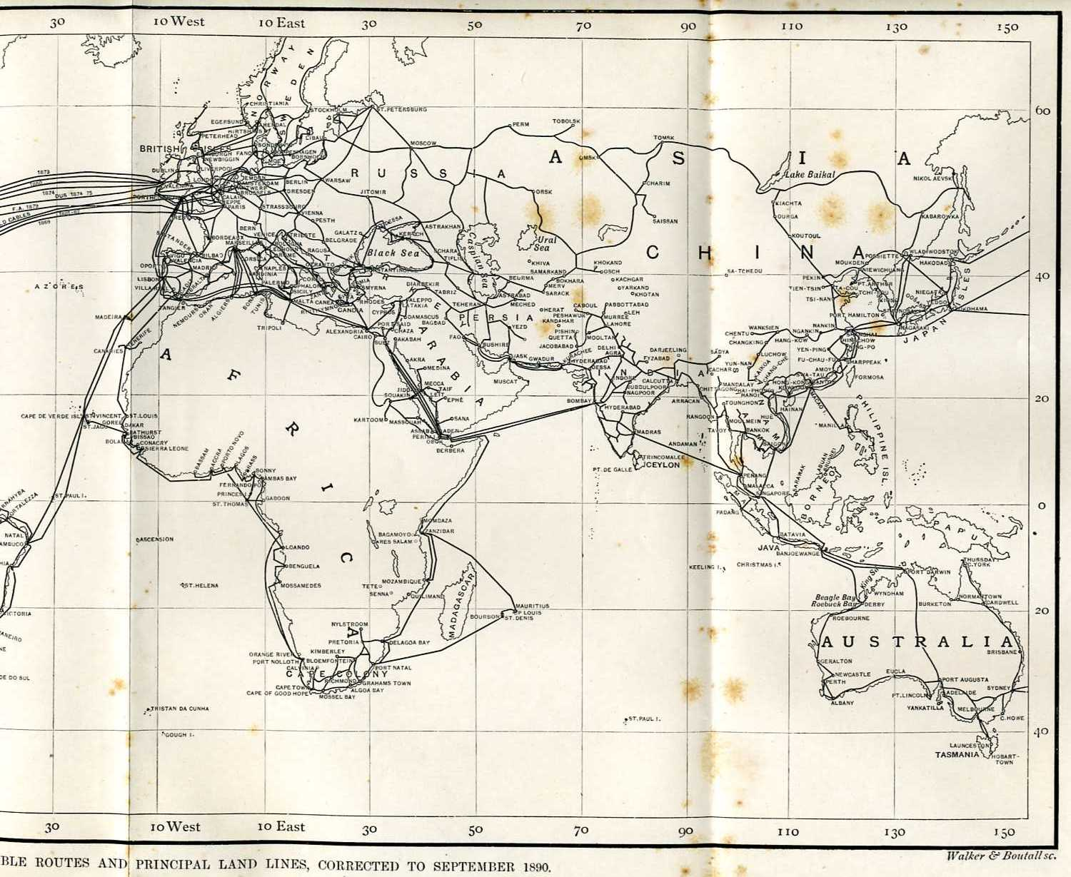 cable routes - East, 1890