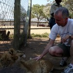 Making friends with some lion cubs